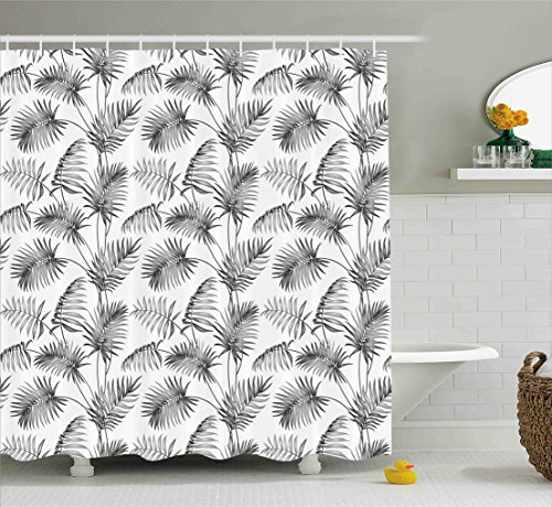 Ambesonne Natural Shower Curtain, Palm Leaves Island Tropical Floral Botanic Tree Natural Sketchy Print Image, Fabric Bathroom Decor Set with Hooks, 70 Inches, Dimgrey and White ()