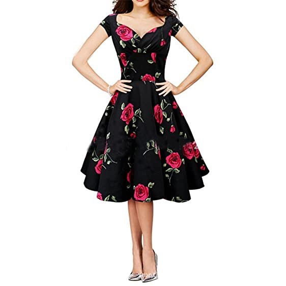 HUIJSNQ Women Vintage Dress Rockabilly Swing Retro Rose Floral Vestidos Ball Gow Party Prom Plus Size
