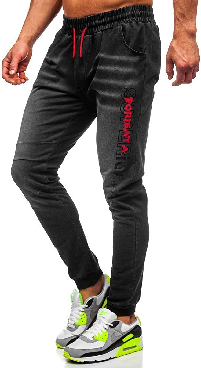 BOLF Herren Jeans Jogger Denim Style Sweathose Jogg Jeans Used Look Jeanspants Destroyed Freizeit Casual Style Slim Fit Narrow Leg 6F6