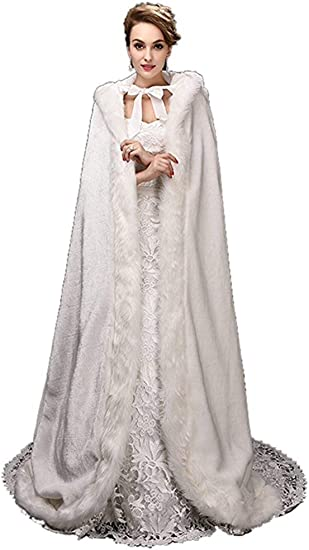 New Girls Faux Fur Girls Cape with Hood Elegant Wedding Christmas Holidays Party