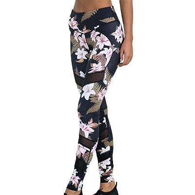 Leggings Largos para Mujer Impreso Entrenamiento De Yoga Pantalones Capris Basic Flor Impreso Pantalones Elásticos Ajustados Pantalones Deportivos Ropa: Ropa y accesorios
