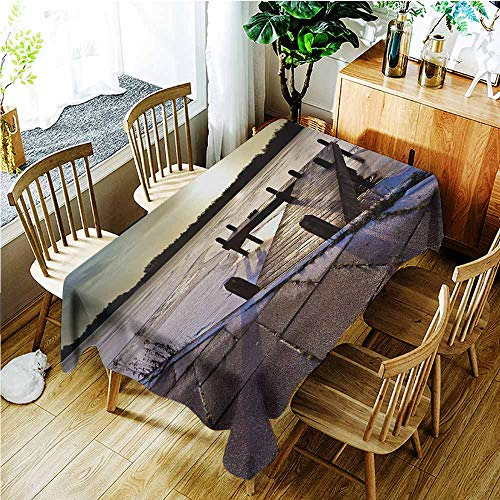 TT.HOME Water Resistant Table Cloth,Winter Sunrise Above a Jetty on a Frozen Winter Lake with Ice and Snow Netherlands Holland,Table Cover for Kitchen Dinning Tabletop Decoratio,W54x72L,Multicolor
