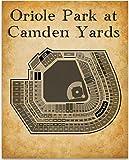 Oriole Park at Camden Yards Baseball Seating Chart - 11x14 Unframed Art Print - Great Sports Bar Decor and Gift for Baseball Fans