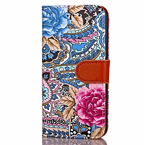 iPhone Case Plus 7, Fleur Couleur Peinture Wallet stand Case Cover TPU avec étui en cuir photo Fenêtre Cash Card Slots PU pour Apple iPhone7 plus ( Color : 1 )