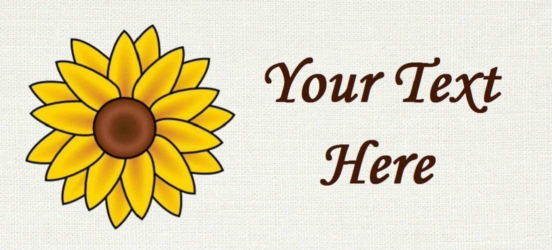Yellow Sunflower Flora Cotton Fabric Labels for Handmade Items//Customized Garment Clothing Size Fabric Labels//Personalized Printed Fabric Sew Tag Labels//Quilt Crochet Sewing Knit