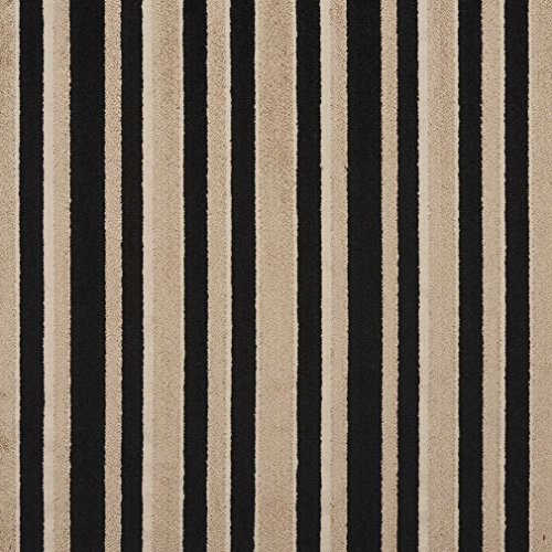 B0760E Black and Grey Striped Cut Velvet Upholstery Fabric by The Yard