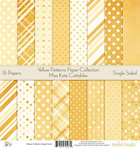 Pattern Paper Pack - Yellow Patterns - Scrapbook Premium Specialty Paper Single-Sided 12