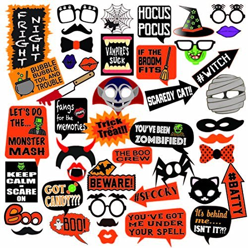 Deluxe Halloween Photo Booth Prop Set, 45 Extra