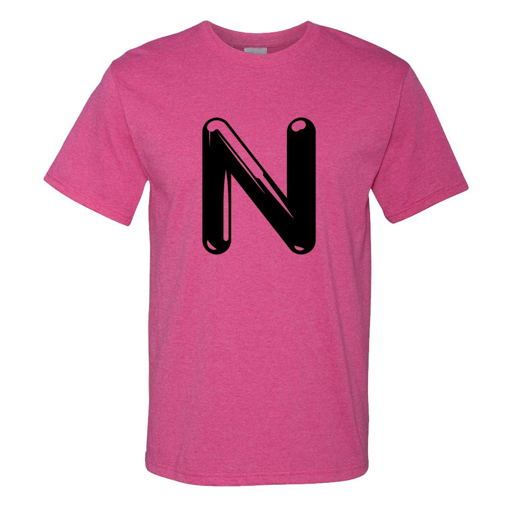 Custom Graphic T Shirts For N Chrome Initial Monogram Letter N Top 8347