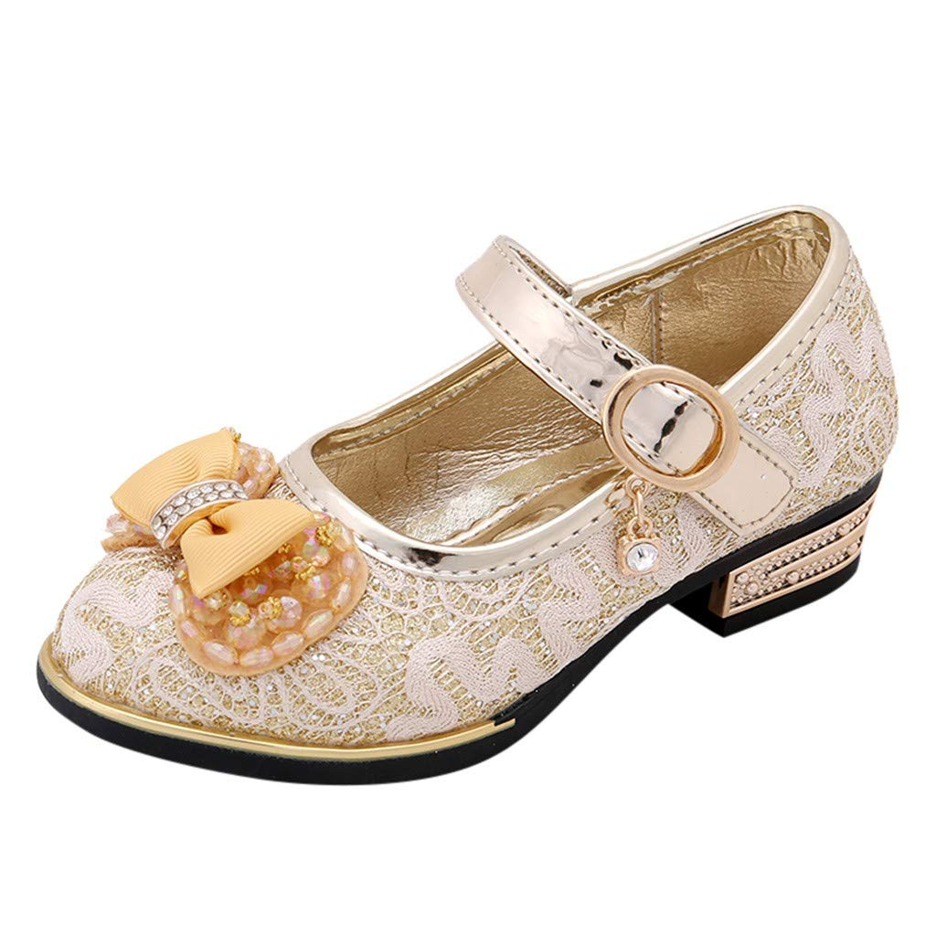 Kids Girls Sandals Shoes GorNorriss Bowknot Pattern Pearl Lace Crytal Single Princess Shoes