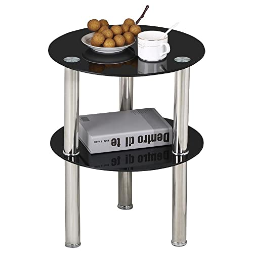 Popamazing Black Small Round Glass 2 Tier Sofa Side Table Stainless Steel  Legs With Storage Shelf