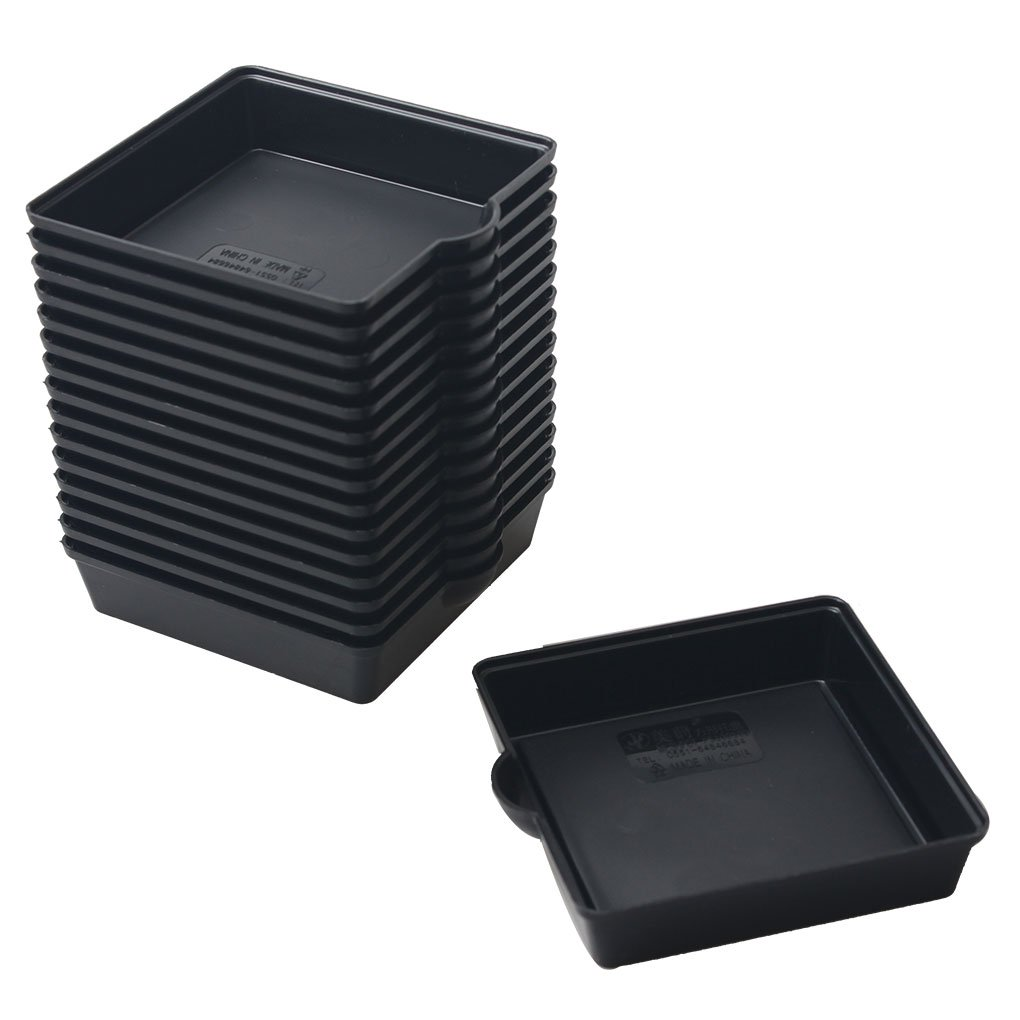 BangQiao 3.20 Inch Plastic Square Plant Pot Saucer Tray for Indoor and Outdoor Plants,Pack of 16,Black by BangQiao