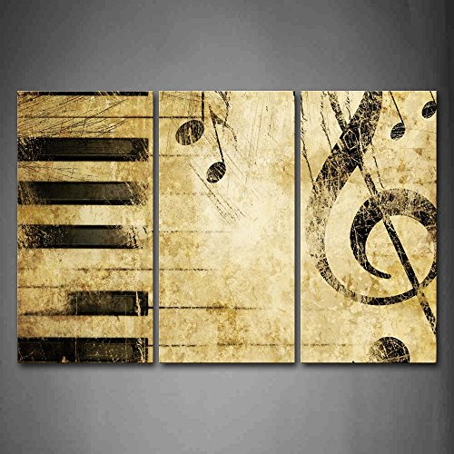 Note And Piano'S Keys In The Paper Wall Art Painting Pictures Print On Canvas Music The Picture For Home Modern ()