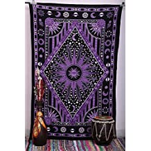 Eve Split Burning Sun Tapestry,Celestial Sun Moon Planet Twin Psychedelic Tapestries, Bohemian Indian Hippie Wall Hanging,Dorms Bedspread printing Cotton Dorm Decor Beach Blanket Carpet,Purple