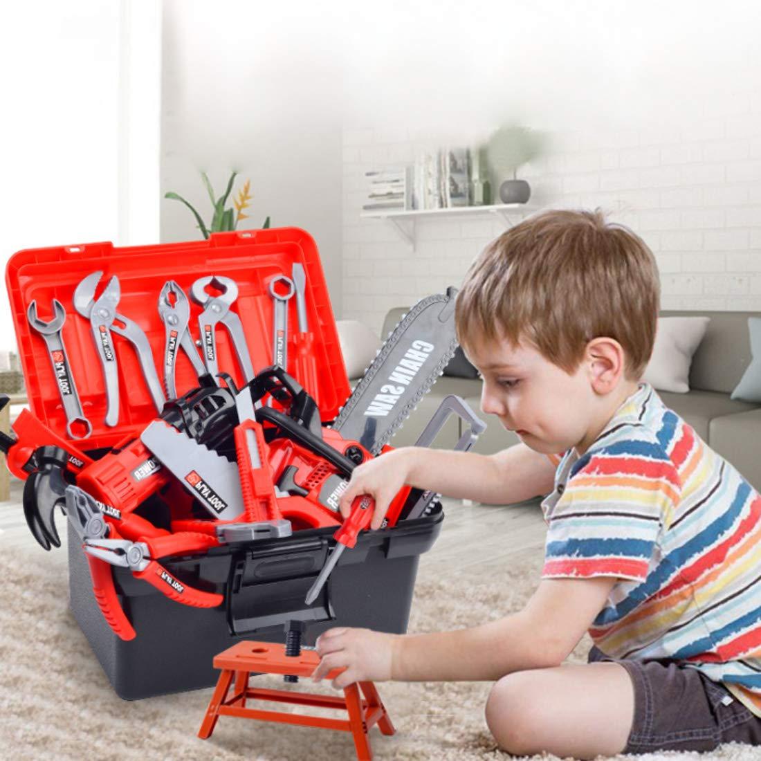 TONGJI Werkzeugkasten Kinder Spielwerkzeug Werkzeugkoffer Set 32Pcs Plastic Pretend Play Kit P/ädagogische BAU Spielzeug F/ür Kinder