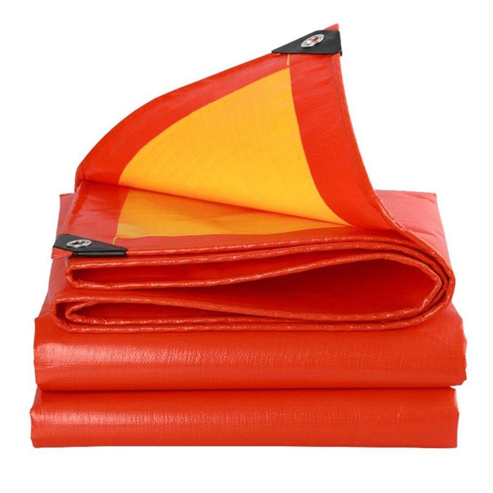 Regenschutz Wasserdicht Thick Plane, Plane Isomatte, Sonnenschutz Anti-Korrosions-Frostschutz Schuppen Tuch, Rot + Orange (Farbe   A, Größe   6 x 8m)