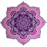"""The Boho Street - 100% Cotton Large Round Lotus Flower Mandala Light Weight Tapestry - Outdoor Beach Roundie - Hippie Gypsy Boho Throw Towel Tablecloth Hanging Floral Pink Purple Lotus Shape Huge 78"""""""