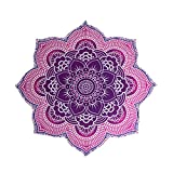 The Boho Street - 100% Cotton Large Round Lotus Flower Mandala Light Weight Tapestry - Outdoor Beach Roundie - Hippie Gypsy Boho Throw Towel Tablecloth Hanging Floral Pink Purple Lotus Shape Huge 78""