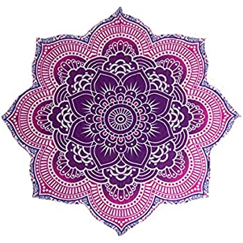 Amazon Com Round Lotus Flower Mandala Tapestry Beach Pool