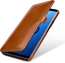 StilGut Book Type Case, Custodia per Samsung Galaxy S9+ (Plus) a Libro Booklet in Vera Pelle, Cognac con Clip