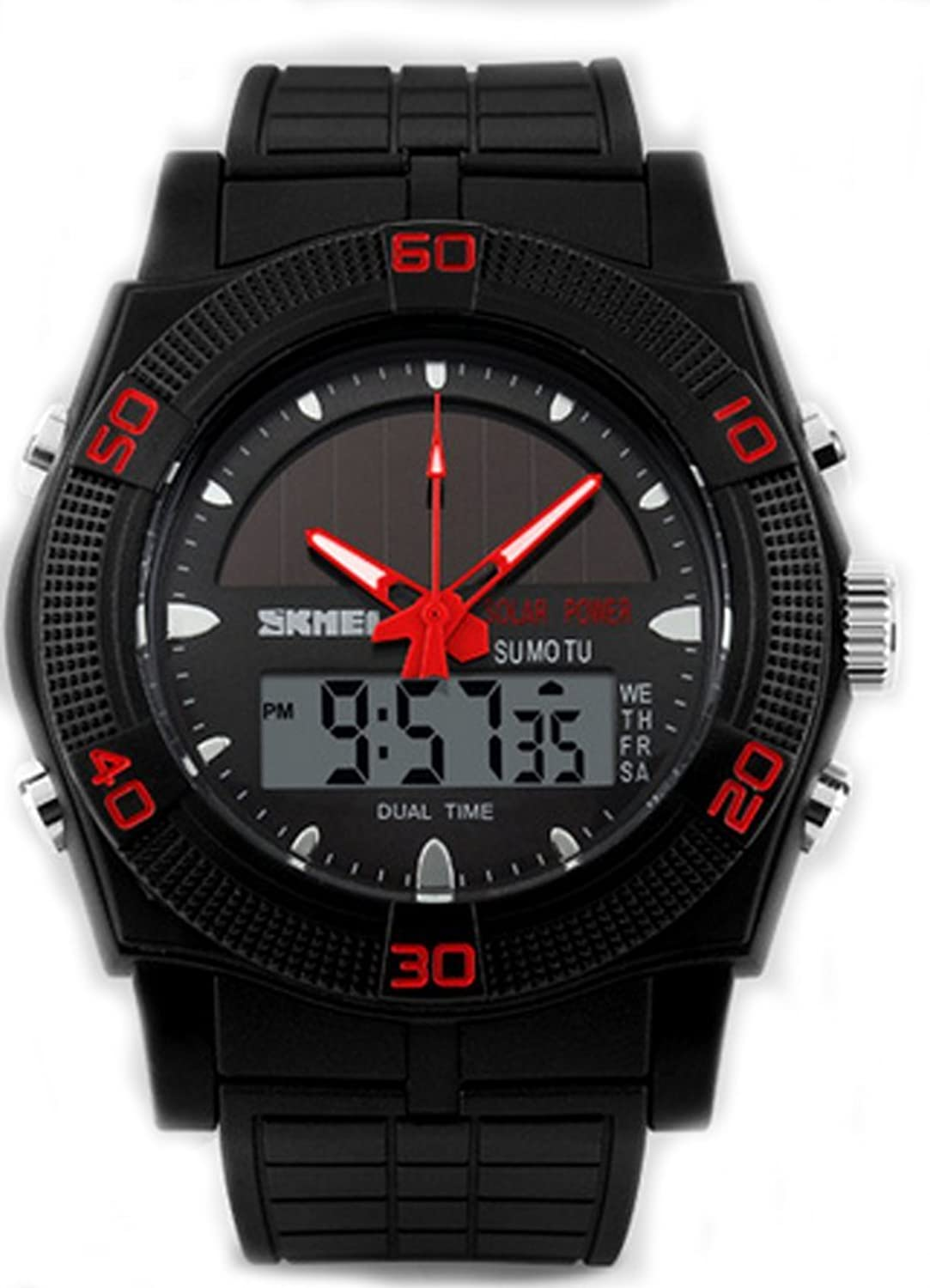 Solar Powered防水Wrist Watches withシリコンバンド B01DI4IOSE