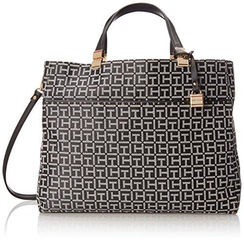 Tommy Hilfiger Jacquard Hobo Shoulder Bag BlackWhite One Size