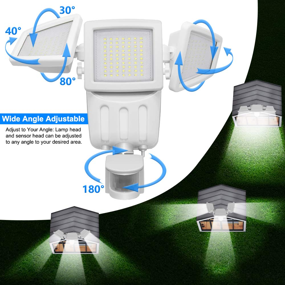 Solar Lights Outdoor, Lovin Product Ultra Bright 182 LED 1000 Lumens Motion Sensor Lights; Wide Angle Illumination/ 3 Control Dials Mode, Security Solar Wall Lights for Driveway, Deck - White by LOVIN PRODUCT (Image #3)