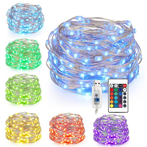 Kohree String Lights Colored Fairy Light, 33ft 100 LEDs 16 Colors, USB Powered Warm White Multi Color Changing String Lights with Remote, Silver Wire Lights for Holiday Decoration