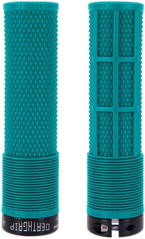 DMR Deathgrip Cycle Handle Bar Grips Lock On Blue Flangeless Thin Soft