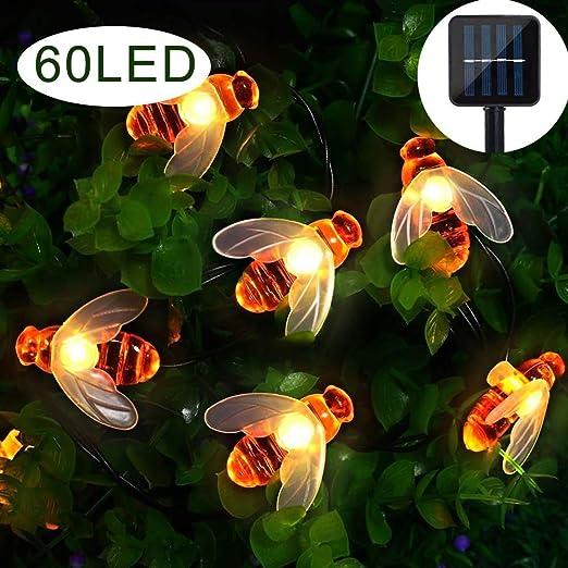 Luces solares de jardín, 60 luces LED de abeja de abeja, 8 modos 9 m, resistente al agua para exterior/interior, iluminación decorativa para hogar, patio, fiesta, Navidad, decoración (blanco cálido): Amazon.es: Iluminación