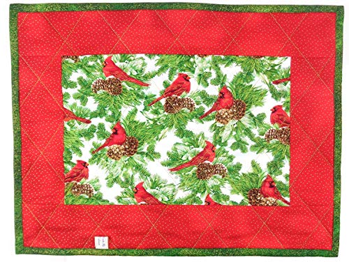 - Christmas Reversible Quilted Placemat Red Cardinals Evergreens