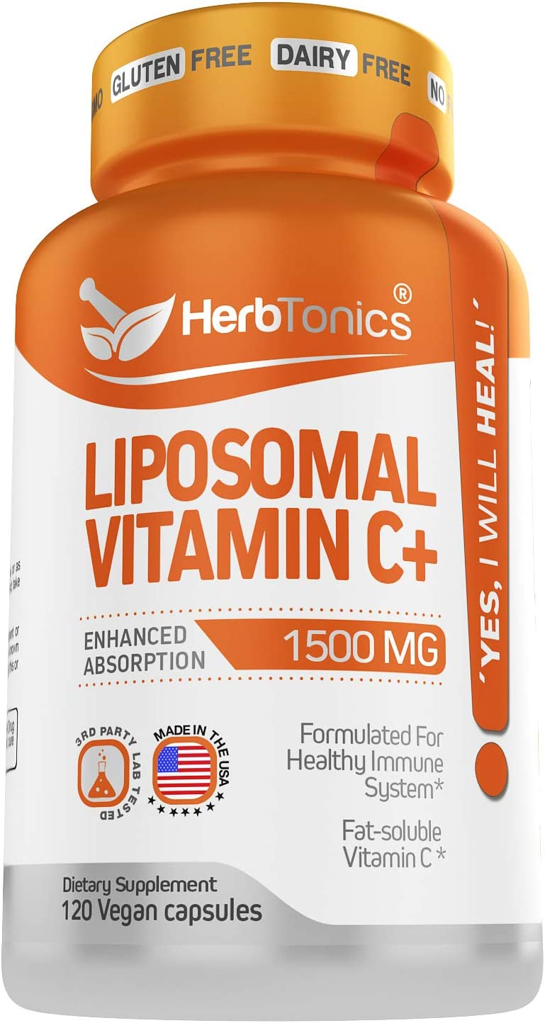 High Strength Liposomal Vitamin C Capsules 1500mg Immune Support Supplement & Immune System Health Booster High Absorption Vitamin C and Collagen Booster - 120 Vegan Capsules Non-GMO