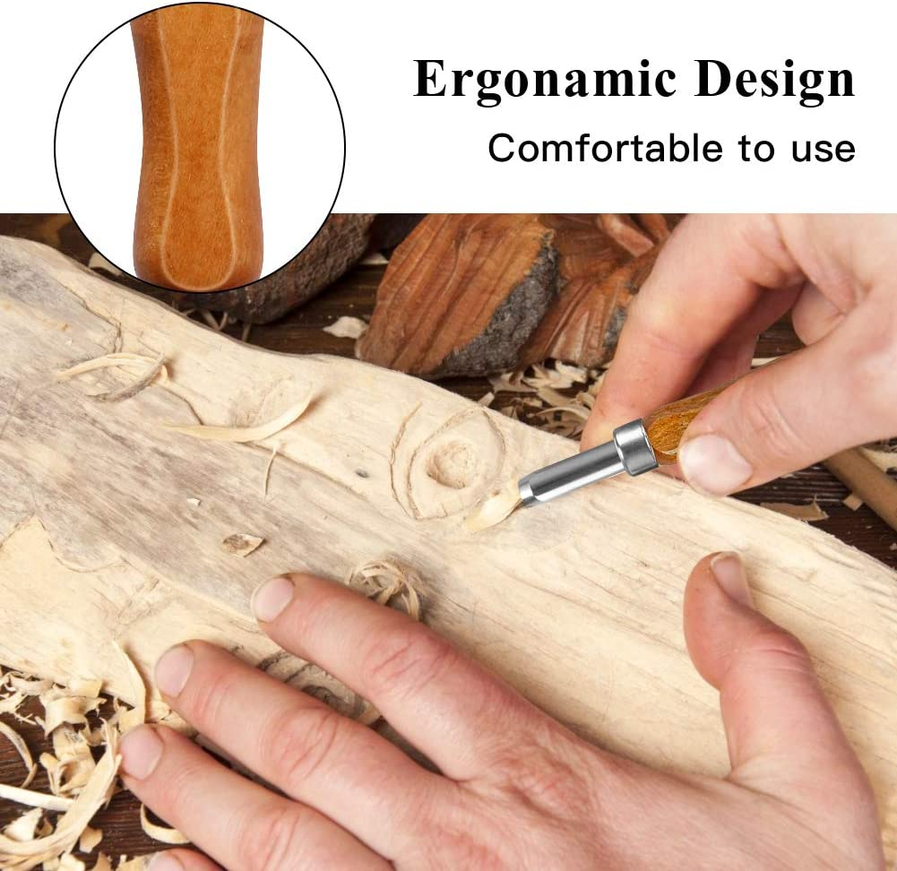 Wood Carving Tools for Beginners Amateurs /& Professionals Wooden Handles Great Kids Wood Whittling Kit Protective Caps /& Case 12 Pcs Beginners Wood Carving Kit with Japanese SK2 Blades