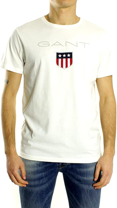 Gant Camiseta Print Logo Blanca: Amazon.es: Ropa y accesorios