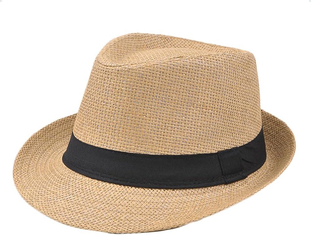 Hosaire Sombrero Amarillo Sombrero de Sol Paja De Paja de Playa Topper Verano Playa Gorro para Mujer Hombre Unisex