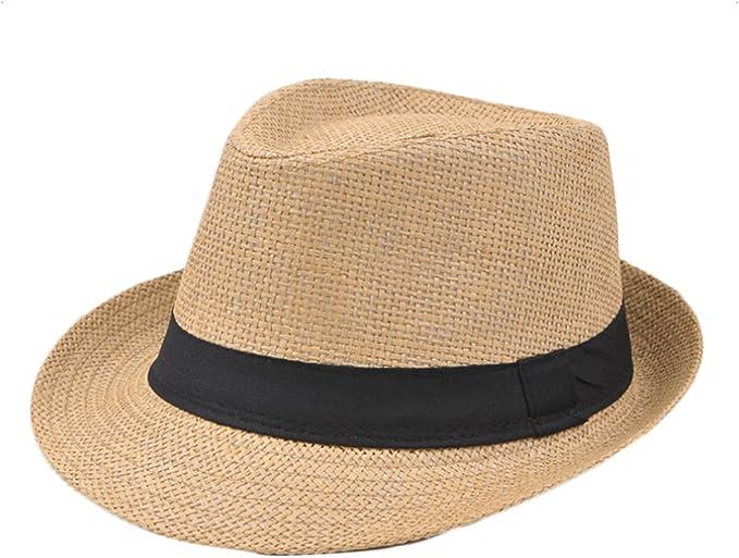 TREESTAR Attacco Casual di Panama Uomini Cappello da Sole di Bordo Rotondo Paglia Cappello per Sport all Aperto Campeggio Spiaggia Primavera Estate