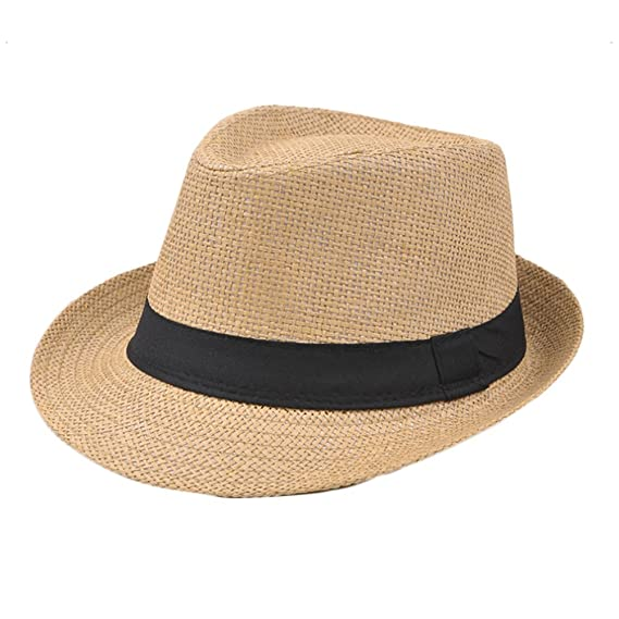 Leisial Sombrero de Jazz Playa Paja Panama Estilo Británico Deporte al Aire  Libre Gorro del Sol Sombrero Modelos de Pareja para Hombre Mujer   Amazon.es  ... 2bb82b5778f