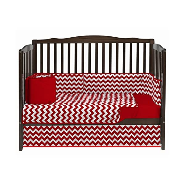 Baby Doll Bedding Chevron 8 Piece Crib Set with Bumper Pad, Red