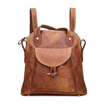 5a55b8e5b0388 Damen Retro Leder Vintage Rucksack Tasche 2 in 1 Lederrucksack Ledertasche  Lederrucksack Damen Schultertasche Leder Rucksack