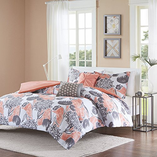 5 Piece Girls Pink Grey Floral Theme Duvet Cover Full Queen Set, Pretty All Over Abstract Wild Flower Bedding, Beautiful Girly Multi Flowers Pattern Reversible Solid Themed, Dark Gray Salmon Coral (Coral Bedding And Gray)
