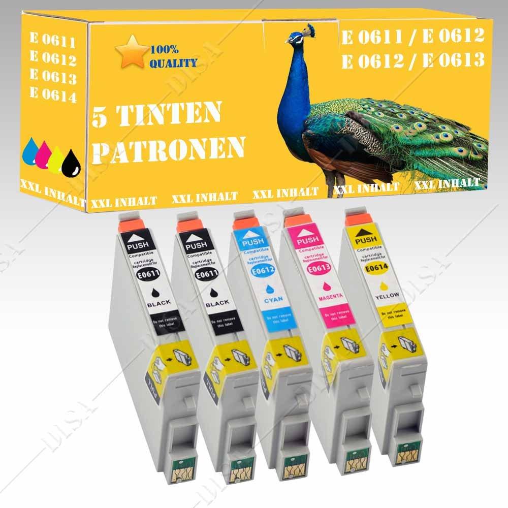5 x Cartuchos de Tinta XXL con chip compatible con Epson 611 – 614 ...