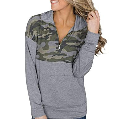 2549b089e8f06 Oksale Women Camouflage Printed Long Sleeved Zippered Collar Sweater  Sweatshirt (Camouflage