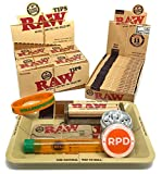 Bundle - 50 Items - RAW Rolling Paper, Pre-Rolled Tips, Paper Case, Mini Rolling Tray and Roller with RPD Grinder, Kewl Tube and Bracelet