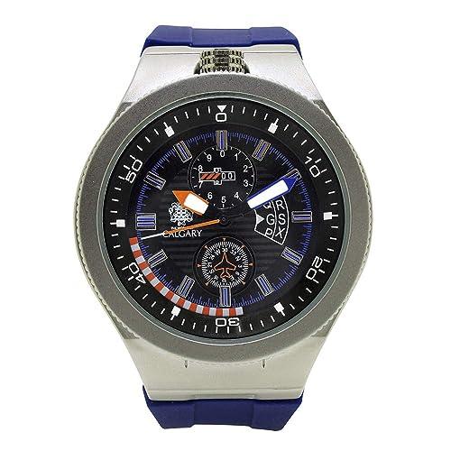 Relojes Calgary Mugello Everest. Reloj de Caballero colección Aventura, Correa Color Azul, Esfera Color Azul y Plata: Amazon.es: Zapatos y complementos