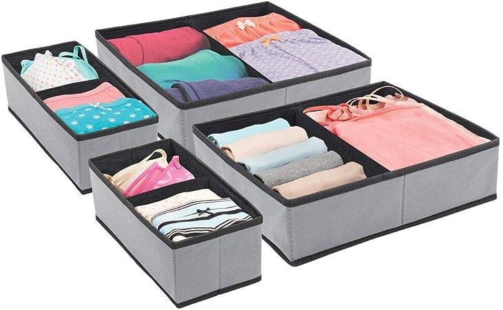 mDesign Juego de 4 Cajas para armarios – Organizador para armarios Plegable en Dos tamaños – Cajas para Guardar Ropa, Ropa Interior, Calcetines, y más – Gris Oscuro y Negro: Amazon.es: Hogar