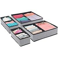 mDesign Rectangular Soft Fabric Dresser Drawer and Closet Storage Organizer Bin for Lingerie, Bras, Socks, Leggings…