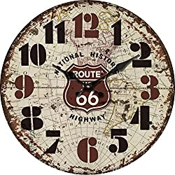 Grazing 8 Vintage Rustic Shabby Chic Style,Arabic Numerals ,Route 66 Road Sign on the World Map, Home Decoration Wooden Round Wall Clock (Route 66 US)