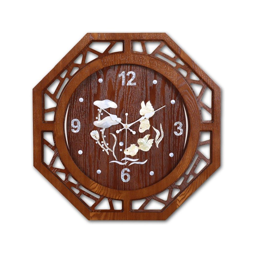 SESO UK- Design Octagon Vintage Retro Wanduhr Holz Wohnzimmer Hängende Quartz Uhren