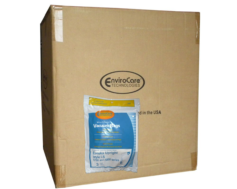 150 Eureka Type LS Sanitaire Vacuum Bags, LiteSpeed Upright, Bagged, Boss Signature Genesis, Refurb Powerline Limited, Sanitaire Commercial Vacuum Cleaners, Series 5700 & 5800, 62123 61820A, SC5815A, SC5713A
