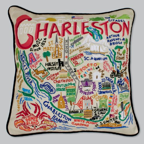 Charleston Pillow by Catstudio Embroidered Pillow